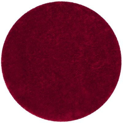 Shortt Shag Hand Tufted Red Area Rug Rug Size: Round 8