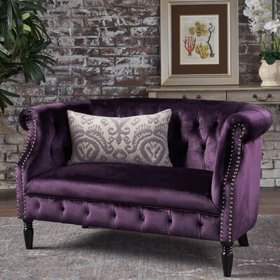 Charlotte Velvet Loveseat Upholstery: Blackberry