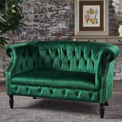 Charlotte Velvet Loveseat Upholstery: Emerald