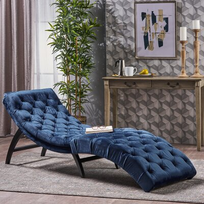 Saoirse Chaise Lounge Upholstery: Cobalt Gray