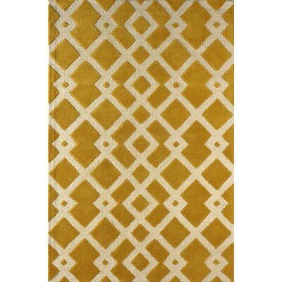 Glenside Hand-Tufted Gold/Ivory Area Rug Rug Size: Rectangle 6 x 9