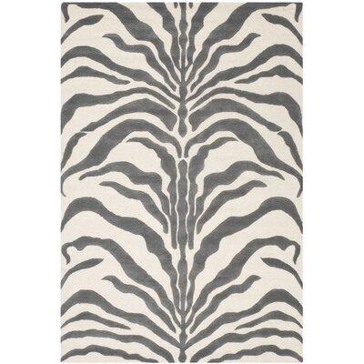 Roloff Ivory & Dark Gray Area Rug Rug Size: Rectangle 6 x 9