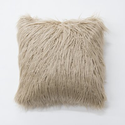Robichaud Faux Fur Throw Pillow Color: Taupe