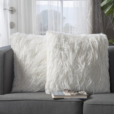 Beaufort Faux Fur Throw Pillow Color: White