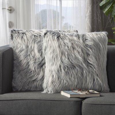 Beaufort Faux Fur Throw Pillow Color: Silver