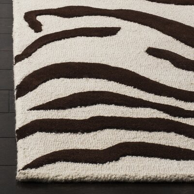 Roloff Hand-Tufted Wool Ivory/Brown Area Rug Rug Size: Rectangle 5 x 8