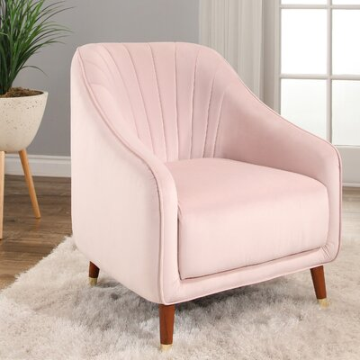 Bocarty Channel Tufted Armchair Upholstery: Blush Pink