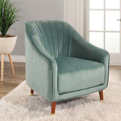 Bocarty Channel Tufted Armchair Upholstery: Seafoam Green