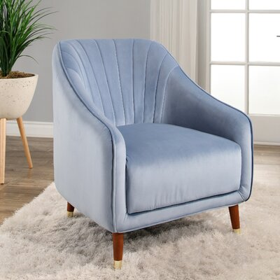 Bocarty Channel Tufted Armchair Upholstery: Light Blue