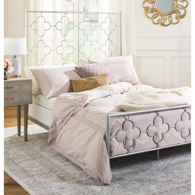 Kieran Lattice Full/Double Panel Bed Size: FULL, Color: Silver