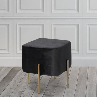 Britannia Cube Ottoman Color: Black/Gold
