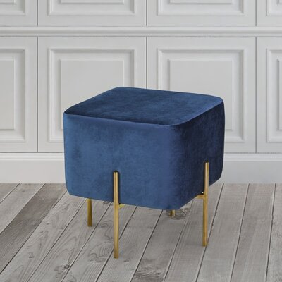 Britannia Cube Ottoman Color: Blue/Gold