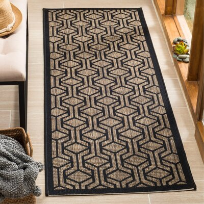 Olsene Brown/Black Indoor/Outdoor Area Rug Rug Size: Runner 23 x 67