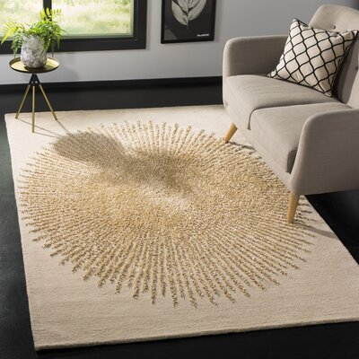 Tess Hand-Tufted Beige/Gold Area Rug Rug Size: Rectangle 5 x 8