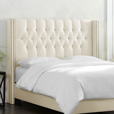 Fitzroy Diamond Tufted Upholstered Wingback Headboard Size: King, Upholstery: Shantung Pearl