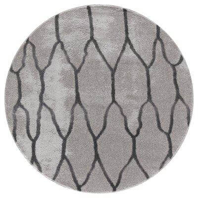 Shores Gray Area Rug Rug Size: Round 5 x 5
