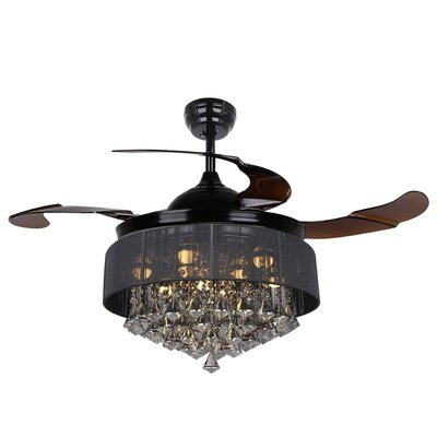 Birchley Glam 4 Blade Ceiling Fan with Remote Finish: Black