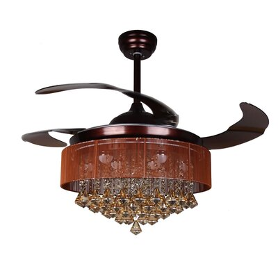 Birchley Glam 4 Blade Ceiling Fan with Remote Finish: Oil Rubbed Bronze