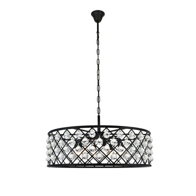 Morion 8-Light Crystal Drum Pendant Finish: Mocha Brown
