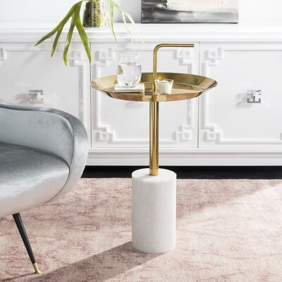 Wick St Lawrence Round Brass Top Side Table