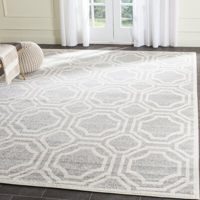 Maritza Geometric Gray/Ivory Indoor/Outdoor Area Rug Rug Size: Rectangle 3 x 5