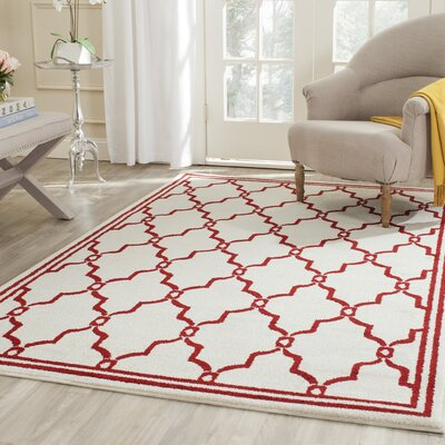 Maritza Ivory/Red Indoor/Outdoor Area Rug Rug Size: Rectangle 4 x 6