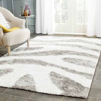 Hempstead Hand Tufted White/Gray Area Rug Rug Size: Rectangle 5 x 8