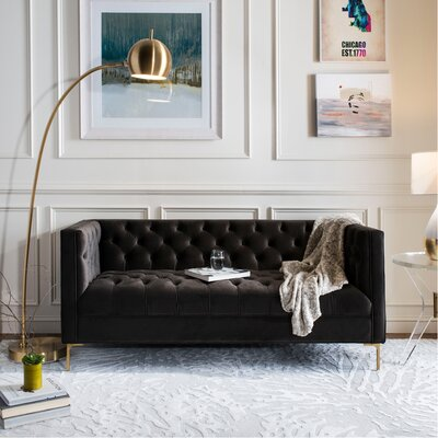 Hoeft Tufted Sofa Upholstery: Dark Mink