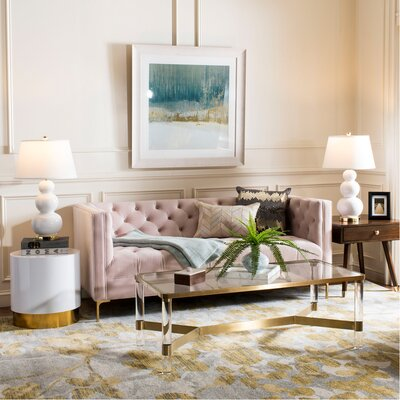 Hoeft Tufted Sofa Upholstery: Blush Pink