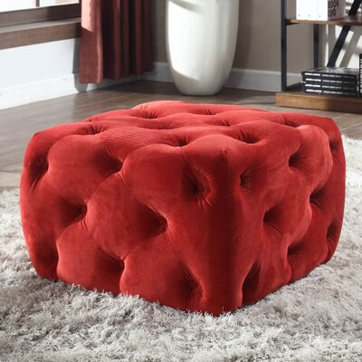 Richborough Cube Ottoman Upholstery: Red Velvet