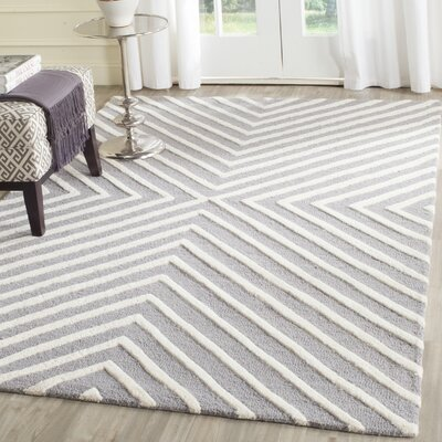 Ordingen Hand-Tufted Wool Silver/Ivory Area Rug Rug Size: Rectangle 5 x 8