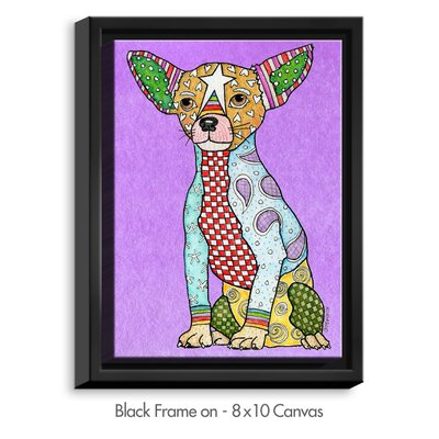 'Chihuahua' by Marley Ungaro Painting Print on Wrapped Framed Canvas Frame Color: Black, Size: 37.75