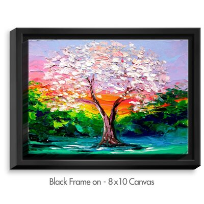 'Story of the Tree L' by Aja Ann Original Painting on Wrapped Framed Canvas Size: 12.75