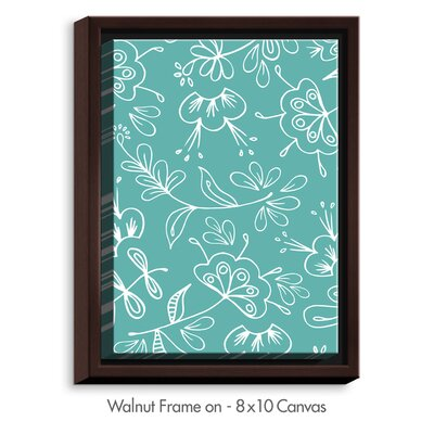 'Teal Flora Mix' by Zara Martina Graphic Art on Wrapped Framed Canvas Size: 25.75