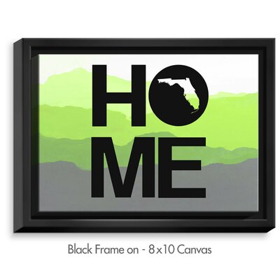 'Home Florida' by Jackie Phillips Textual Art on Wrapped Framed Canvas Frame Color: Black, Size: 25.75