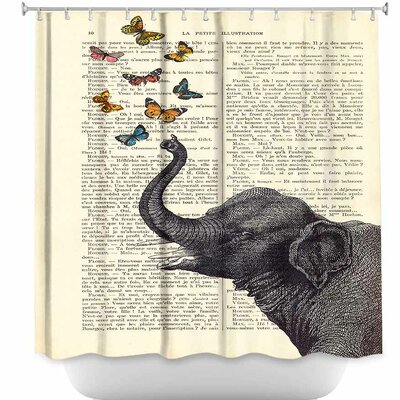 Elephant Butterflies Shower Curtain