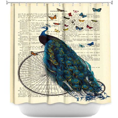 Peacock Bicycle Butterflies Shower Curtain