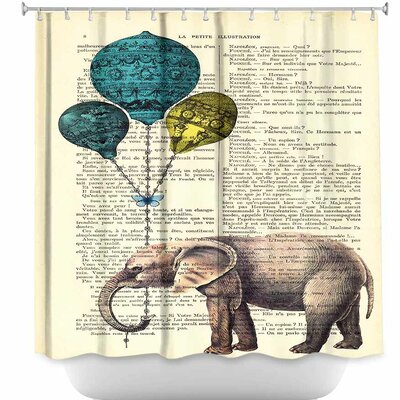 Elephant Blue Balloons Shower Curtain