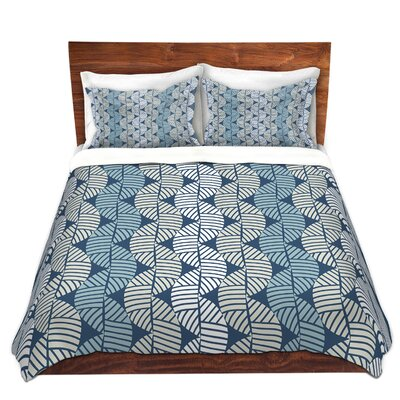Waves On Blue Duvet Cover Set Size: King
