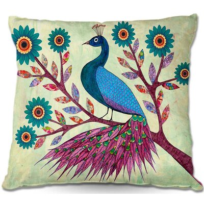 Peacock Throw Pillow Size: 16 H x 16 W x 4 D