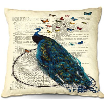 Peacock Bicycle Butterflies Throw Pillow Size: 22 H x 22 W x 5 D