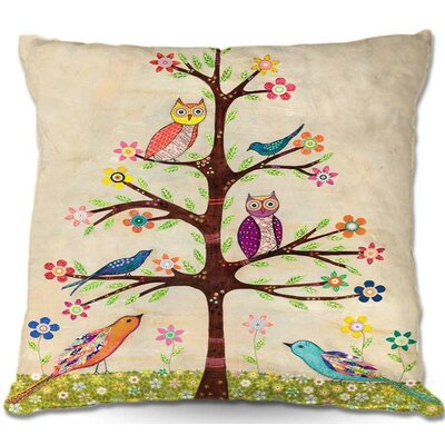 Owl Bird Tree Throw Pillow Size: 18 H x 18 W x 5 D