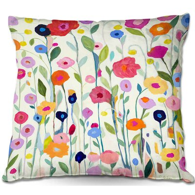 Flowers Throw Pillow Size: 16 H x 16 W x 4 D