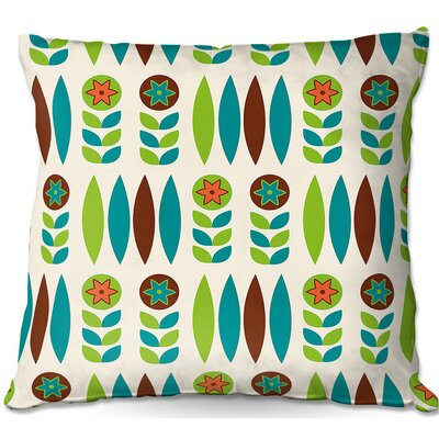 Mid Century Spring Floral Throw Pillow Size: 16 H x 16 W x 4 D