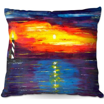 Sunset at Lighthouse Throw Pillow Size: 16 H x 16 W x 4 D