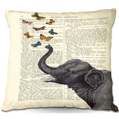 Elephant Butterflies Throw Pillow Size: 22 H x 22 W x 5 D