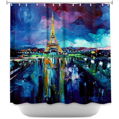 Parisian Night Eiffel Tower Shower Curtain