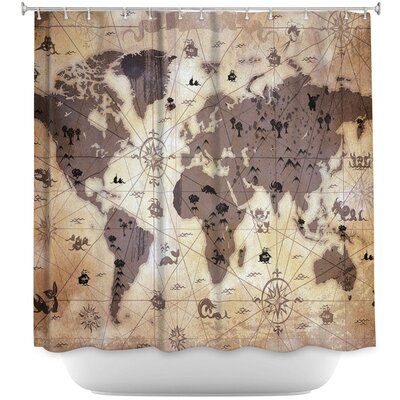 Whimsical World Map Shower Curtain Color: Brown