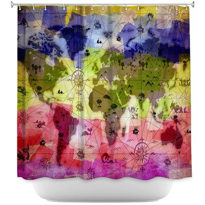 Whimsical World Map Shower Curtain Color: Pink/Green/Blue