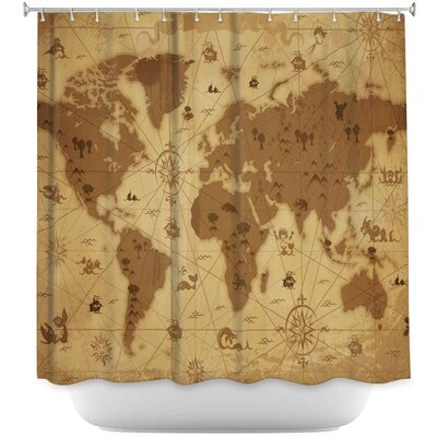 Whimsical World Map Shower Curtain Color: Beige